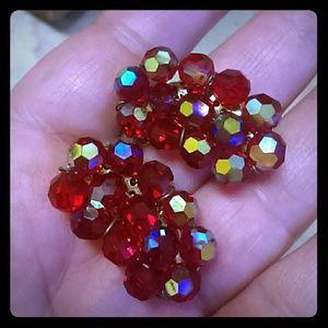 Vintage Red Crystal Cluster Earrings